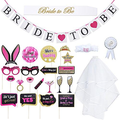 """Dreamtop Junggesellinnenabschied-Dekorationsset, 25-teilig, Brautschleier mit Kamm, Satinschärpe mit Aufschrift """"Bride To Be"""", Banner, Foto-Requisiten"""