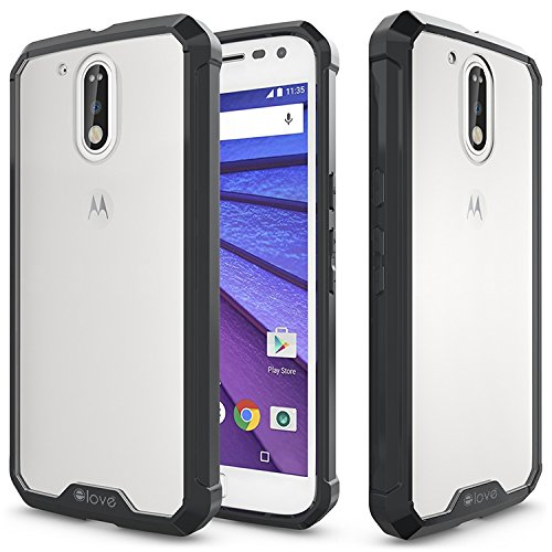 Moto G4 Plus Case, elove Motorola Moto G4 Plus [Crystal Clear Back] Soft Silicon Gel TPU + Hard PC [Shock Absorbing] [Light-weight] [Scratch Proof] [Slim-Fit] Bumper Case Cover for Motorola G4 Plus - Black  available at amazon for Rs.199