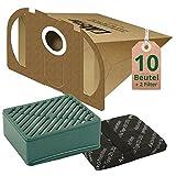 12 tlg Spar Angebot 10 Staubsaugerbeutel Filtertüten braun mit Hepa Hygiene Filter Set passend für Vorwerk Tiger VT 251 & 252 Staubsauger