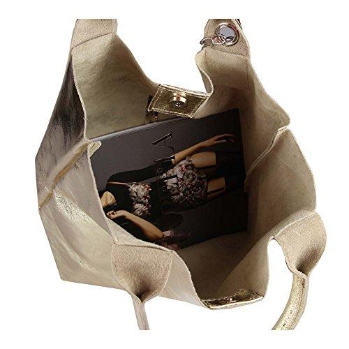 OBC Damen Metallic Tasche Shopper Hobo Bag Schultertasche Umhängetasche Handtasche Henkeltasche Beuteltasche (Taupe 41x37x12) Gold-Leder 42x35x16