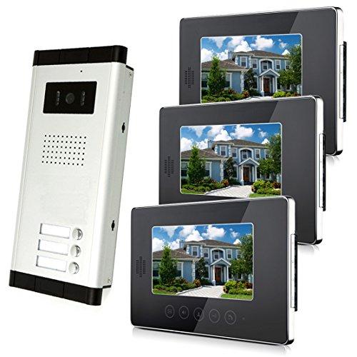 "Amocam 3 Units Apartment Intercom Wired 7"" Monitor Video Intercom Doorbell Door Phone Audio Visual Intercom Entry Access System"