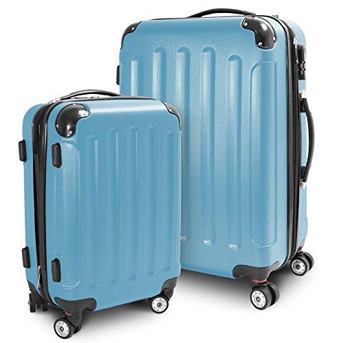 BERWIN Kofferset M + L 2-teilig Reisekoffer Trolley Hartschalenkoffer ABS Teleskopgriff Modell Stripes (Himmelblau)