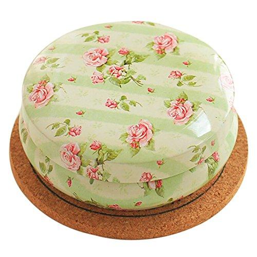 Wingbind Rétro ronde thé café boîte de rangement de sucre en fer-blanc belle fleur rose Decor petite boîte à thé pour le voyage