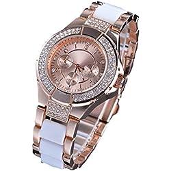 PromiseU Lady's Crystal Bracelet Quartz Wrist Watch-Rose Gold and White