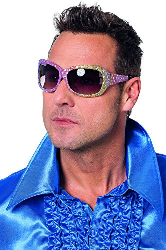 Jannes 20023 Brille Elvis Rock'n'Roll Deluxe mit Pailetten Regenbogen
