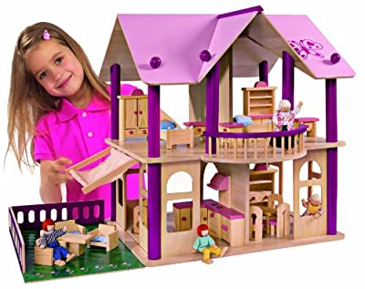 Eichhorn 2513 - Casa de muñecas de madera con muebles y figuras (Simba Dickie) por Eichhorn