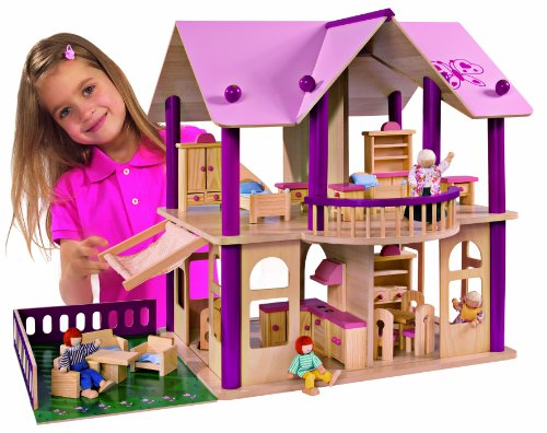 Imagen principal de Eichhorn 2513 - Casa de muñecas de madera con muebles y figuras (Simba Dickie)