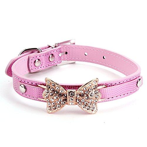 Luxus Lederhalsband Hundehalsband Welpenhalsband Sicherheitshalsband Halsbänder Katzenhalsband mit Schleife Strass Blau/Pink/Rosa/Rot/Golden einstellbar (Strass-schleife Rosa)