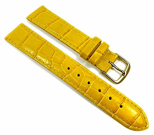 Louisiana Print XL Uhrenarmband Leder Gelb 21907G, Anstoß:12 mm