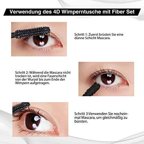 4D Mascara Kit DDK Lashes Wimperntusche mit Fiber Set ,MayBeau Makeup Augenbrauenserum Länger Natürliche Dicker Wimpern Wimpernverlängerung Wasserdicht-10ml Mascara + 2.5g Fiber