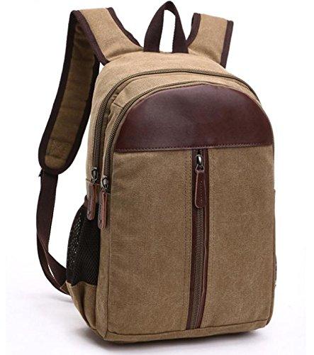 &ZHOU Segeltuchtasche, Mode-Canvas mit Leder Rucksack Computer Tasche Rucksack Schultasche Reisen, unisex Khaki