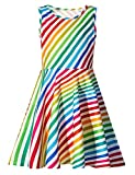 Funnycokid Chicas Vestido sin Mangas Arco Iris Printing Casual Party Clothes 10-13 T