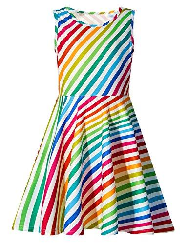 Funnycokid Mädchen Kleider Ärmellos Sommer Niedlich Regenbogen Drucken Muster Lässig Kleid 8-9 T - Regenbogen-streifen-shirt