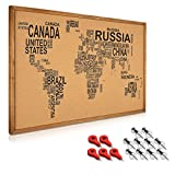 Navaris Kork Pinwand Memoboard Tafel - 90x60cm Pin Board Korkwand mit Holz Rahmen Stecknadeln Fahnen Montageset - World Map Pinnwand - Memo Korktafel