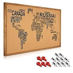Navaris tablero para notas de corcho – Tablero con marco de madera de 90 x 60CM – Planificador mapamundi con 15 chinchetas y set de montaje