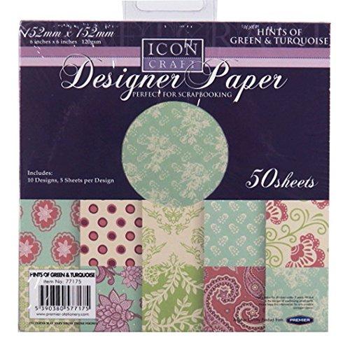 Icon Craft, Designer Papier - Einem Hauch Von Grün und Türkis, 10 Designs, 5 Blatt pro Design, Größe 152 mm quadratisch - Hauch-sticks