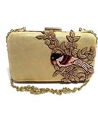 Arisha Kreation Co box Clutch Using Silk Lycra Fabric (Gold)