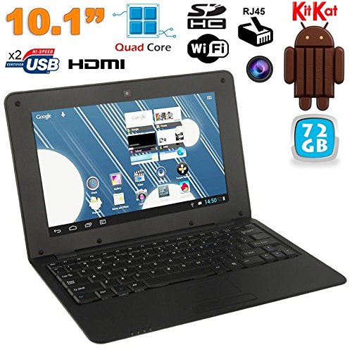 Mini PC Android 4.4 NETBOOK Ultra portatile 10 pollici Wi-Fi 72 GB Nero