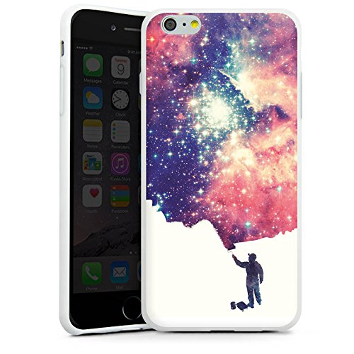 Apple iPhone X Silikon Hülle Case Schutzhülle Universum Space Grafik Silikon Case weiß