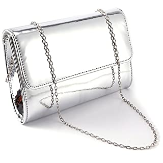 ANLADIA METALLIC PATENT WOMEN CLUTCH DESIGNER LADIES WEDDING PROM EVENING BAG (Silver)