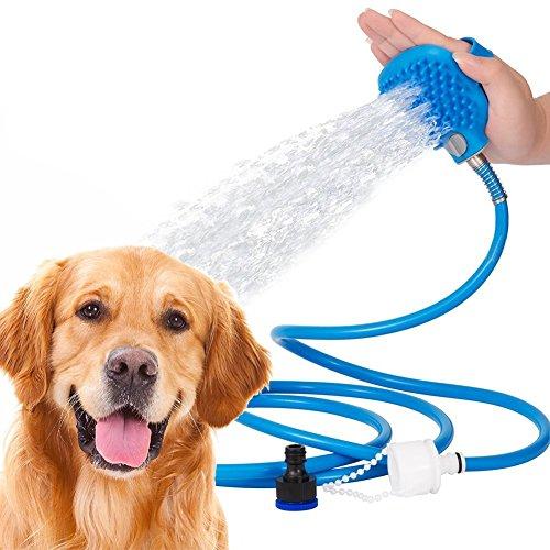 Pet Kit Dusche (Weimi Pet Shower Sprayer und Scrubber in-One, Indoor Outdoor-Dusche-Tool-Kit für Hund Katze mit Grooming Bürstenkopf 7,5 Ft Schlauch und Scrubber)