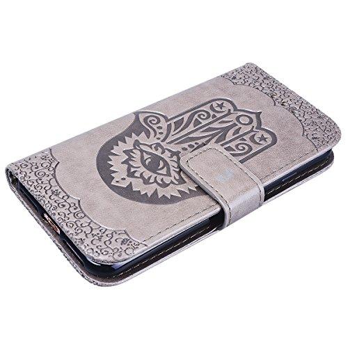 Yokata Cover per iPhone 7 / 8 Premium Leather Palm Goffratura Disegno Custodia in PU Pelle con TPU Cassa Interna e Supporto Funzione Flip Wallet Case Bumper Book Style Stand Caso Protezione Shell con  Grigio