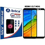 AVICA Edge To Edge Full Glue Black 5D Curved Full Front Body Covered Tempered Glass Screen Protector For Xiaomi Redmi 5 (5.7 Inch)