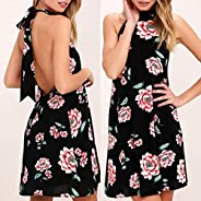 WensLTD Women Dress, Wensltd Women's Floral Prints Halter Backless Straps Sleeveless Dress Mini D