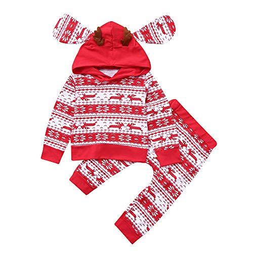 Beikoard Baby Langarm Blumendruck-Pullover-Set Neugeborenes Baby Mädchen Kleidung Mantel Floral Hosen Leggings Outfits Set (6M-24M (Rot, ()