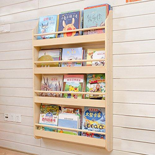 Madera sólida Sencillo Revistero de pared,Jardín de la infancia Bebé Niño Estantería Librería Revistero pared Estante Revistero Revista-B