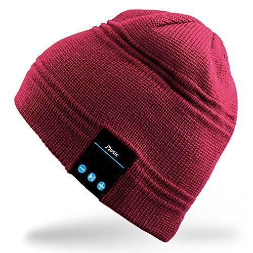 Rotibox Winter Bluetooth Beanie Mütze mit Stereo-Lautsprecher Kopfhörer, Mikrofon, Hände frei und Akku - kompatibel mit Handys, iPhone, iPad, Tablets, Android Smartphones - Red Red Mobile