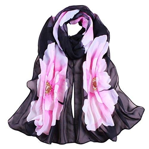 Vovotrade Mujer Fino suave gasa de seda de la bufanda de la flor impreso bufandas del mantón del abrigo,160cmx50cm (G)