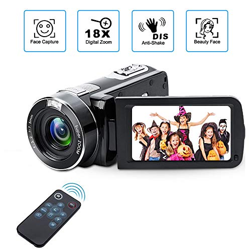 Videokamera Camcorder mit IR-Nachtsicht, Weton 1080P Full HD Camcorder Digital Videokamera 24,0 Megapixel, 18 Fach Digital Zoom Video Camcorder (Zwei Batterien Enthalten)