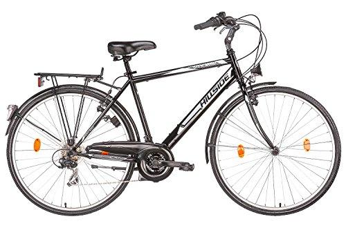 Herrenfahrrad 28 Zoll Hillside City Bird in schwarz Stadtrad City Bike Citybike 21 Gang Shimano Tourney Schaltung Beleuchtung Gepäckträger Seitenständer Trekkingrad - neues Modell 2016