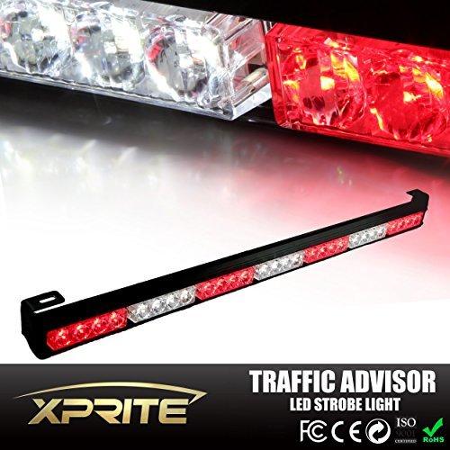 Xprite 31.5 28 LED 7 Modes Traffic Advisor Emergency Warning Vehicle Strobe Light Bar Kit (White/Red) by Xprite Led Emergency Vehicle Lights
