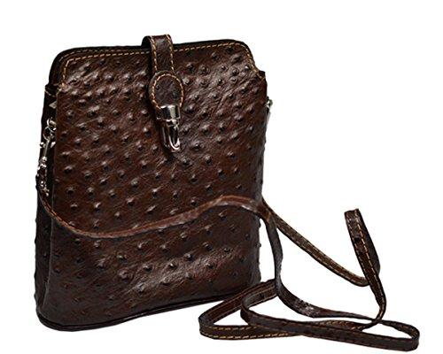 Schöne praktische Leder Kleine braune Handtasche aus Leder Fibbia Cafe über die Schulter (Braune Italienische Leder Handtasche)