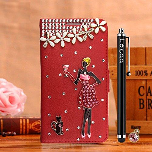 Locaa(TM) Pour Apple IPhone 7 IPhone7 (4.7 inch) 3D Bling Case Coque Cadeaux Fait Cuir Qualité Housse Chocs Étui Couverture Protection Cover Shell Romantique [Couleur 1] Bleu - Love Rouge - Blackjack filles