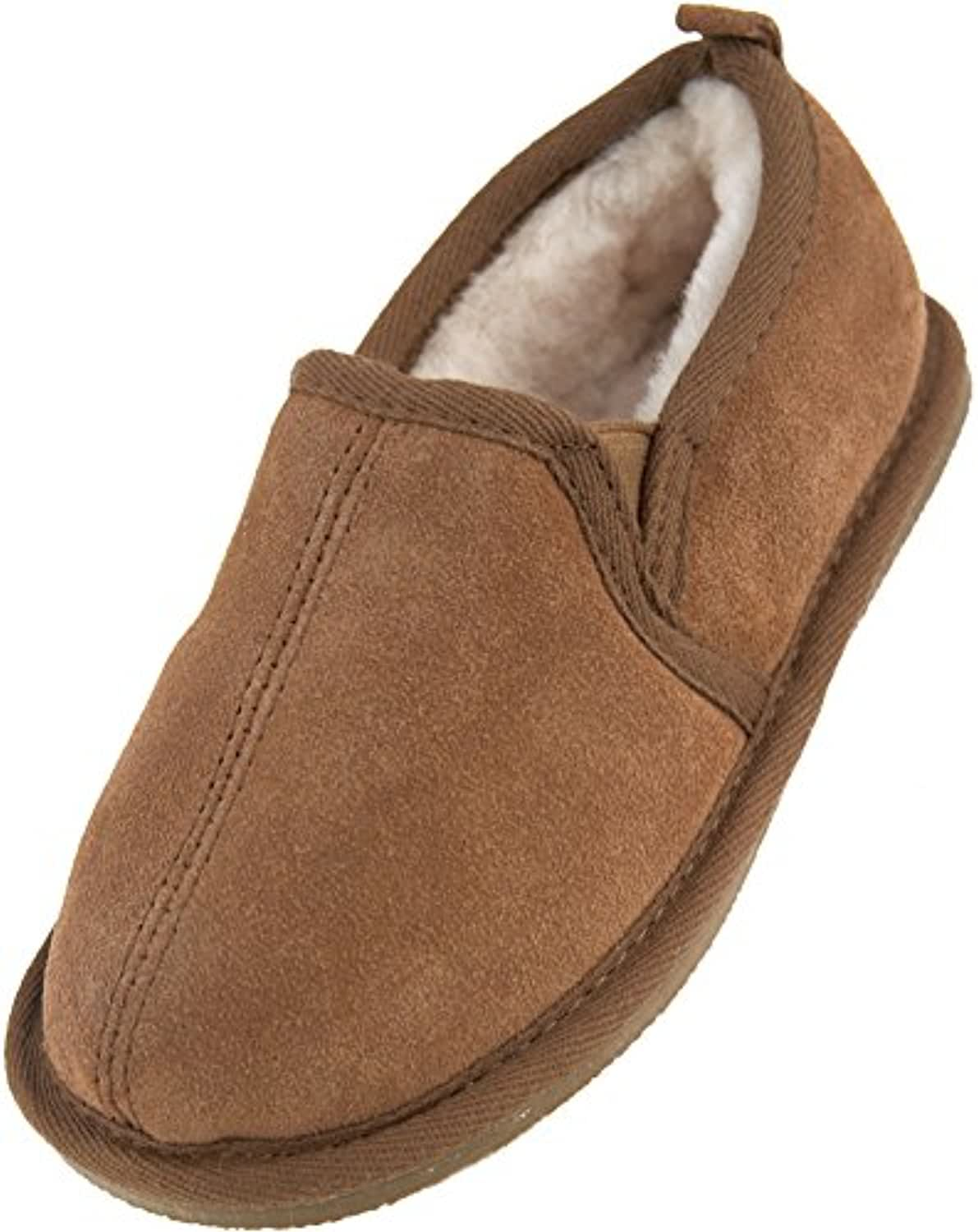 Lambland Childrens Genuine Suede and Lambswool Bootie Slipper with Suede Sole / Size 1 - 2 UK