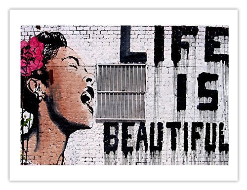 LIFE IS BEAUTIFUL BILLIE HOLIDAY Graffiti Street Art Banksy Mr Brainwash 18x24 premium poster print by Steves Poster Store