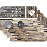 Venilia Tischset Platzset für Esszimmer COUNTRYKEY OF LOVE, 4er Set abwischbar Polypropylen, lebensmittelecht 4 Stk. 45 x 30 cm, 4 Stück, 59081