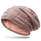 CASPAR MU135 gefütterte Feinstrick Beanie Mütze mit Flecht Muster, Farbe:rosa-grau;Größe:One Size