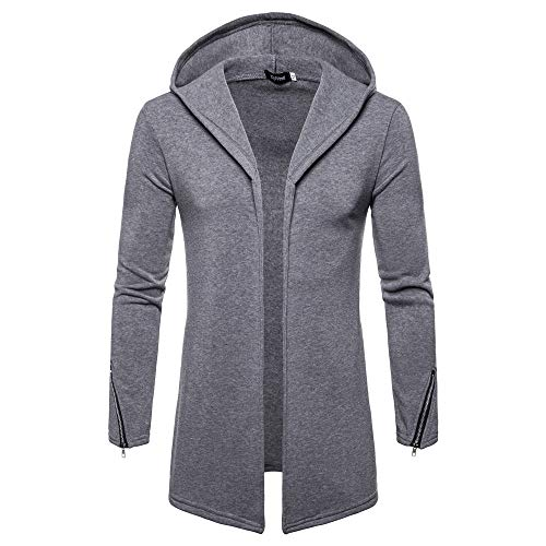 JYJM 2018 Weihnachten Herren Hooded Solid Zipper Trenchcoat Jacke Strickjacke Langarm Outwear Bluse Herren Übergangsjacke Herrenjacke Jacke gefüttert mit Kapuze Herren Warme Winterjacke