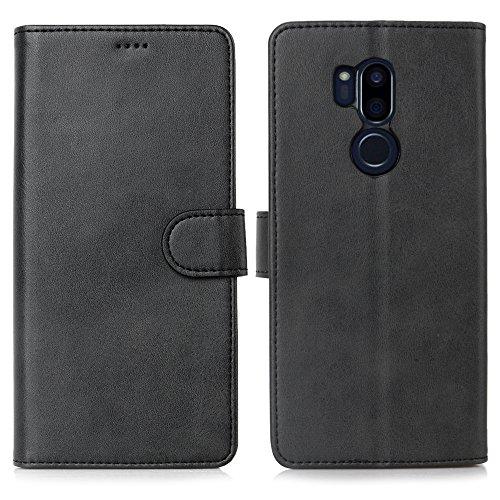 DDJ LG G7 Hülle, LG G7 ThinQ Hülle, Premium PU Leder Flip Case Schutzhülle mit Kartensteckplätzen für LG G7 ThinQ Smartphone (LG G7, schwarz)