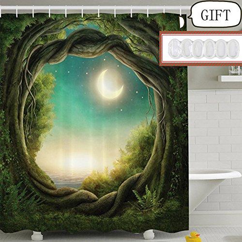 greenk-tenda-per-doccia-creativa-impermeabile-e-prova-muffa-plastica-foresta-3d-e-pattern-luna180x05