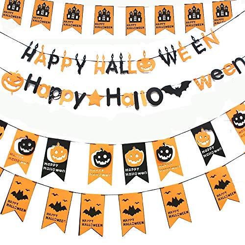 loween Bunting, Halloween Vlies Dekoration 5 Stück, Innen/Außen hängende Banner, Kürbisgeist Hexen Fledermaus hängende Flagge für Halloween Party Dekoration ()