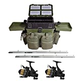 G8DS Starter-Karpfen-Angel-Set'Carp Session' Carp fishing Seatbox + 2 Angelrollen + 2 Angelruten