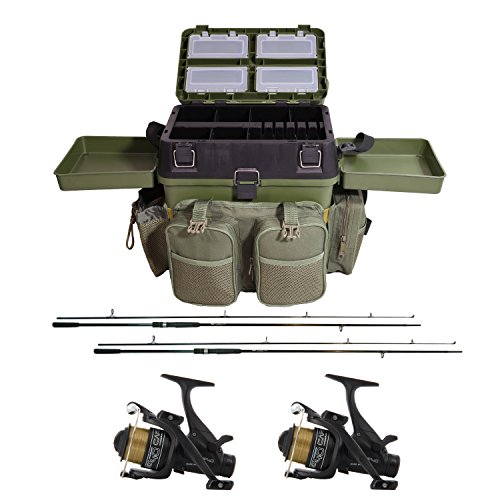 "G8DS® Starter-Karpfen-Angel-Set""Carp Session"" Carp fishing Seatbox + 2 Angelrollen + 2 Angelruten"