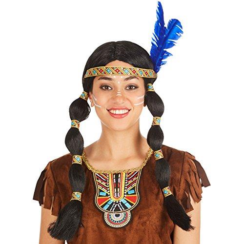 Perücke mit zwei geflochtenen Zöpfen | schwarz + Haarband mit Federn | Indianerin Indianer Apache Squaw Fasching