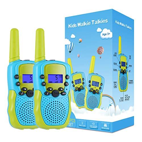 Kearui Spielzeug 3-12 Jahren Junge, Walkie Talkies für Kinder 8 Kanal Funkgerät mit Hintergrundbeleuchteter LCD-Taschenlampe, 3 Meilen Reichweite für Abenteuer im Freien, Camping, Wandern