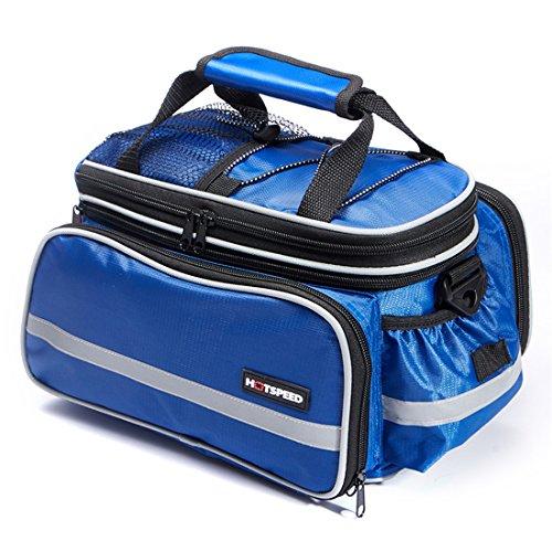 grofitness Fahrrad hinten Sitz Tasche Mountain Bike Carrier Gepäckträgertasche mit reflektierendem Rand/Wasserdichte Abdeckung Blau